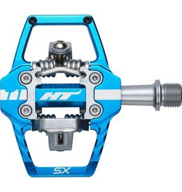 "HT Components HT T1-SX BMX-SX Pedals - Dual Sided Clipless with Platform, Aluminum, 9/16"", Marine Blue"