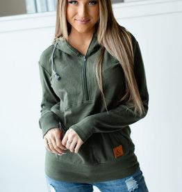 Ampersand Ave Halfzip Sweatshirt - Evergreen