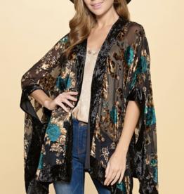 Boho Velvet Burnout Kimono Black