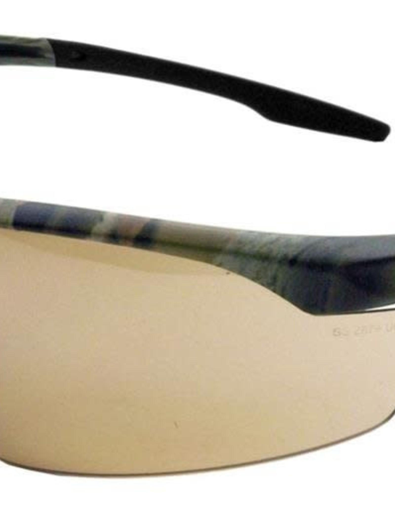 Conqueror Safety Glasses, Universal, Scratch Resistant Bronze Mirror Lens, Half-Frame, 28CM5M
