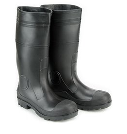 Seattle PVC Black Rubber Waterproof Steel Toe Boots