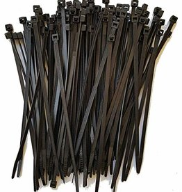 "7.6"" UV Black Nylon Zip Ties, Various Quantities"