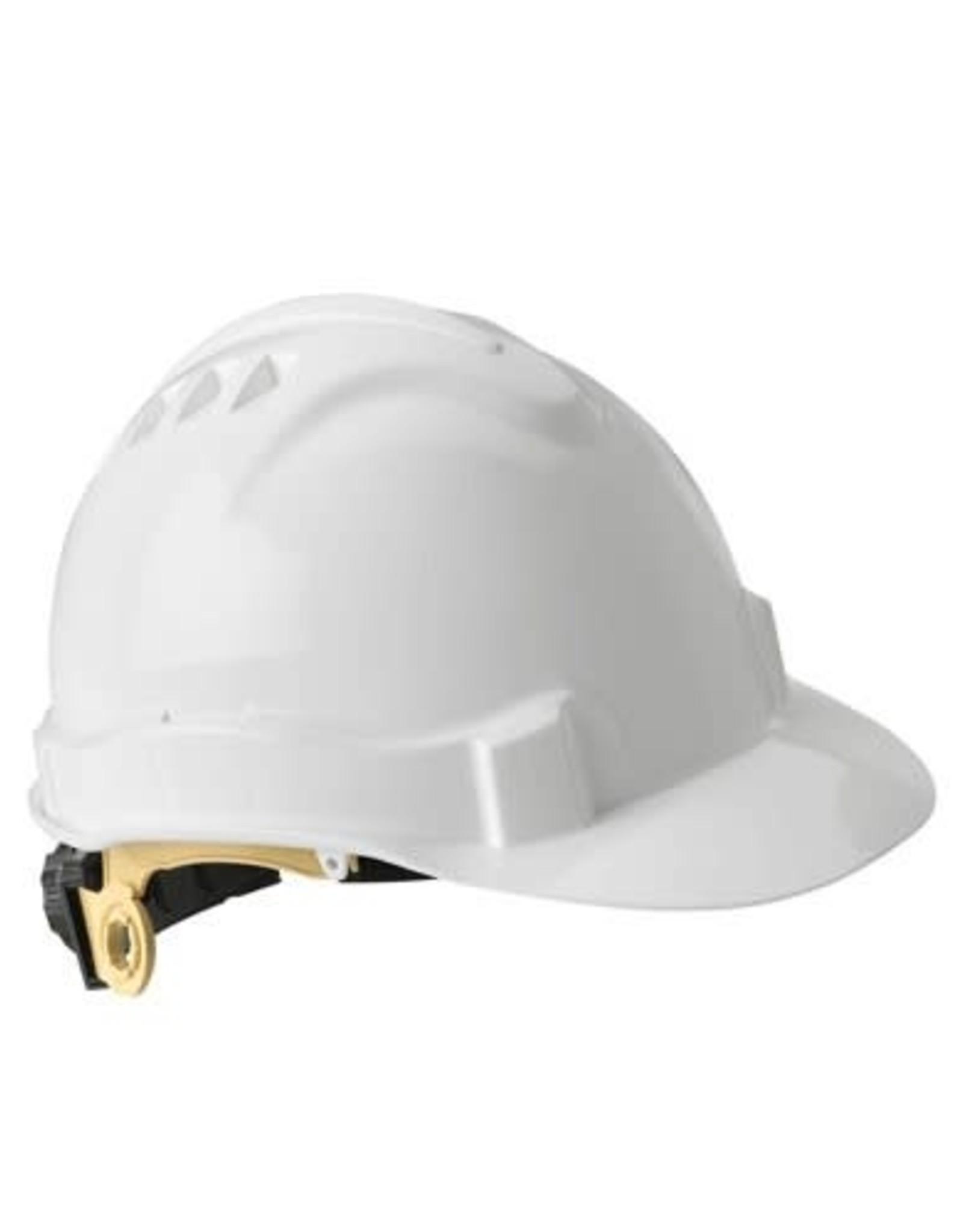 Standard Safety Helmet, Ratchet Suspension, White Shell