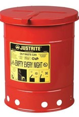 Justrite Oily Waste Can, 6 Gallon (20 L.), Hand Operated