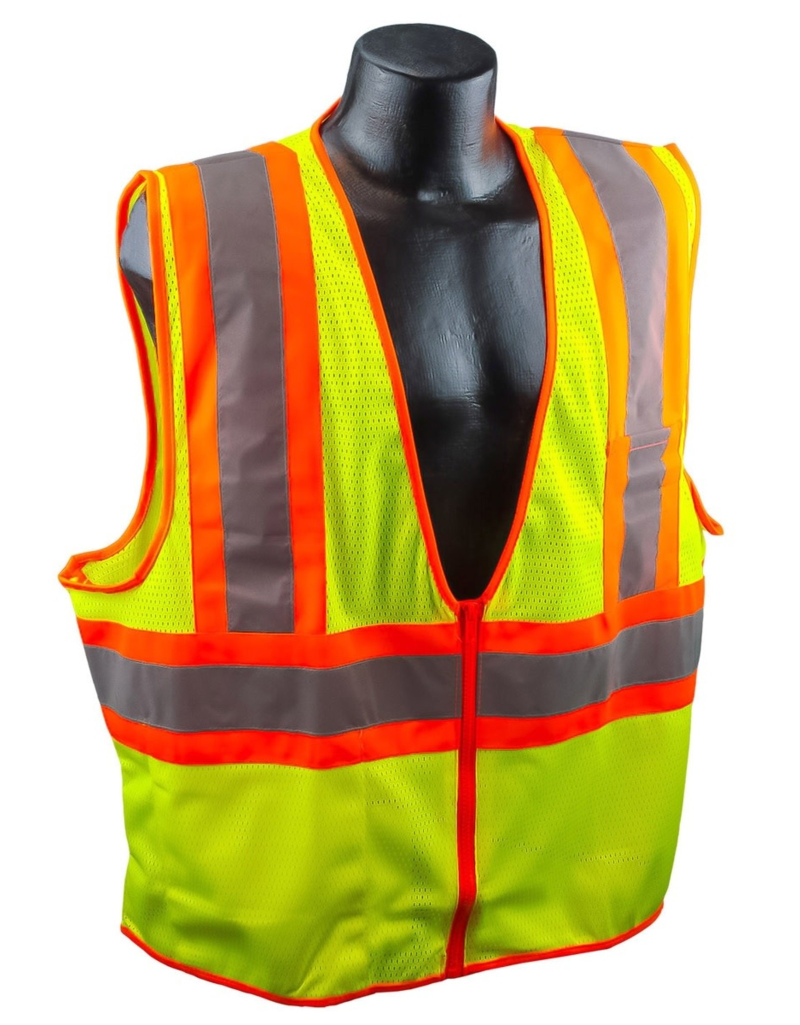 Case of 50 - Safety Vests SZ. Large - Yellow Mesh Class II, Reflective Tape, SZ. M - 4XL