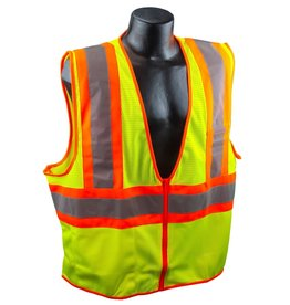 Case of 50 - Safety Vests, Yellow Mesh Class II, Reflective Tape, SZ. M - 4XL