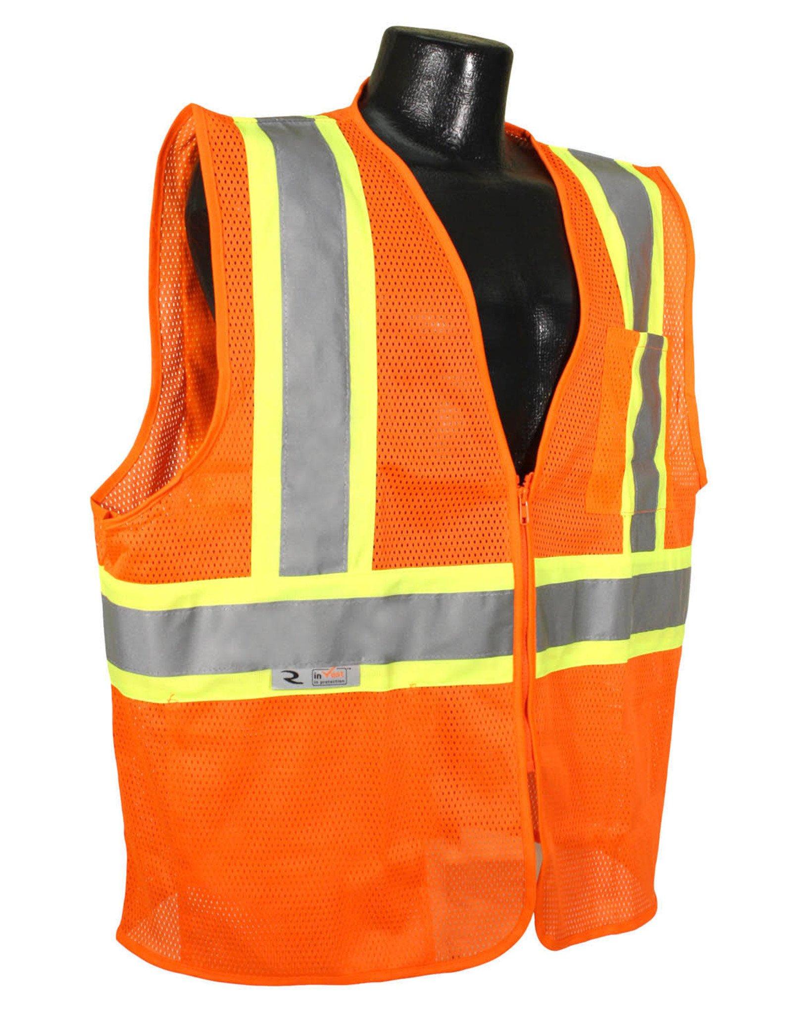 Case of 50 - Safety Vests, Orange Mesh Class II, Reflective Tape, SZ. M - 4XL