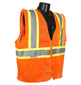 Case of 50 - Safety Vests, Orange Mesh Class II, Reflective Tape, SZ. M - 4XL