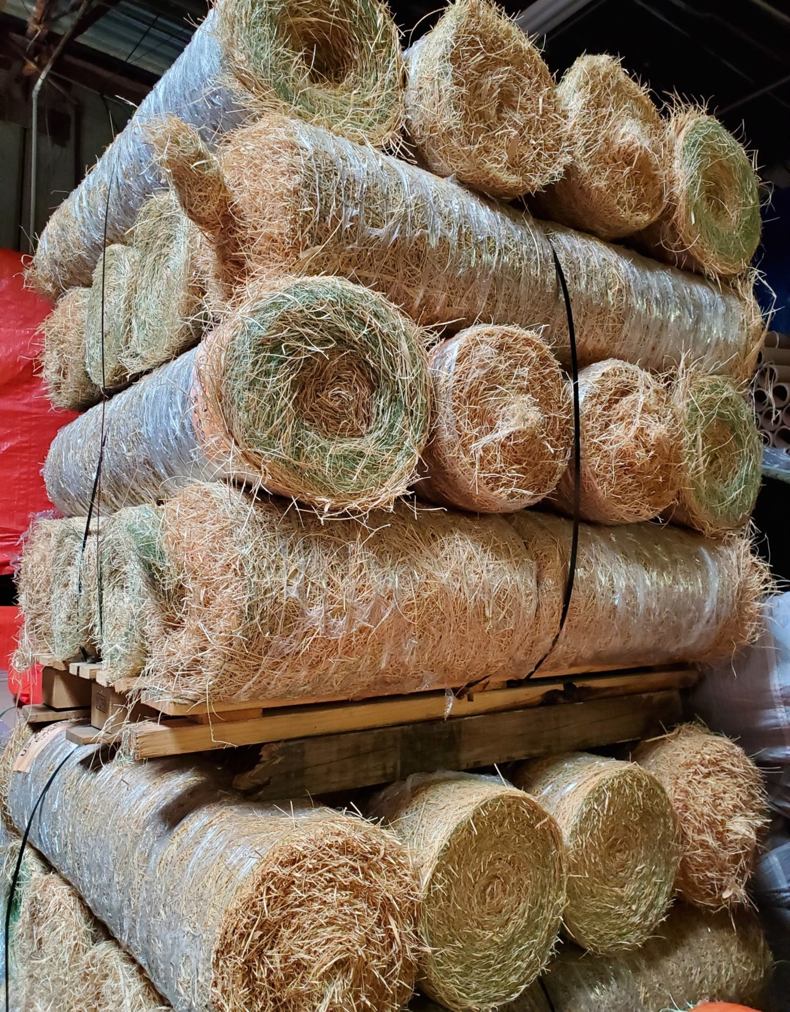 Erosion Blanket - US-1X Single Net American Excelsior Natural w/ Poly Netting, SZ. 4' x 180'
