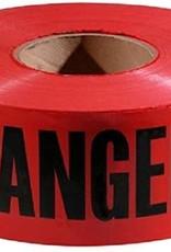 Danger Tape, Red/Black, 1000 ft x 3 In.