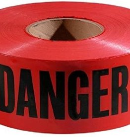 Danger Tape, Red/Black, 1000 ft x 3 In.