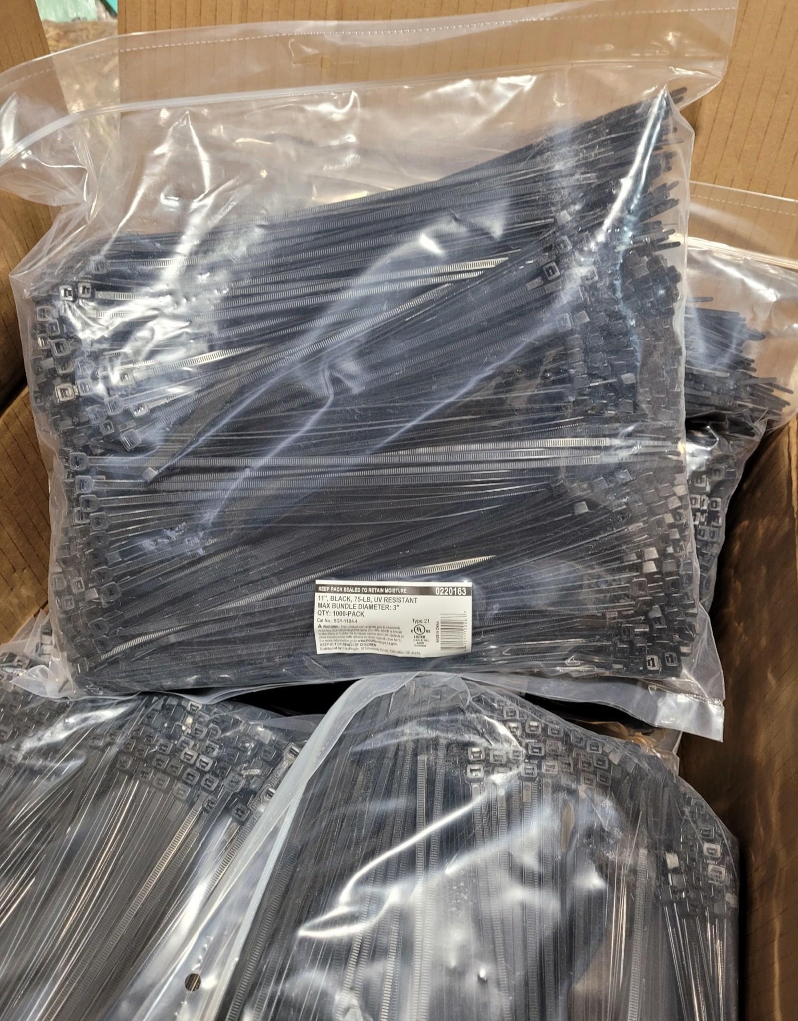 """Zip Ties,  75 lb. SZ. 11"""",  1000 ct. bag - UV Resistant"""