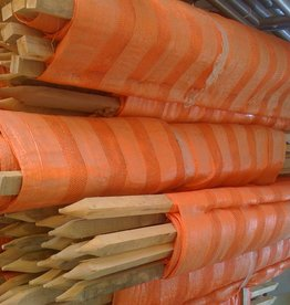 Orange Woven Barrier Fence w/ Pre-attached Stakes
