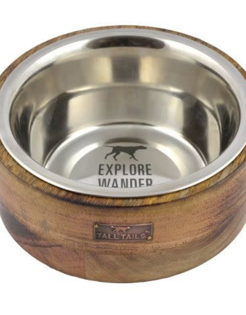 Tall Tails Tall Tails  Bowl Stainless Steal Wood