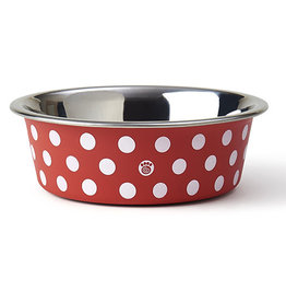 "Pet Rageous Pet Rageous St. Barts Bowl. 5.50"" Red/White Polka Dots"