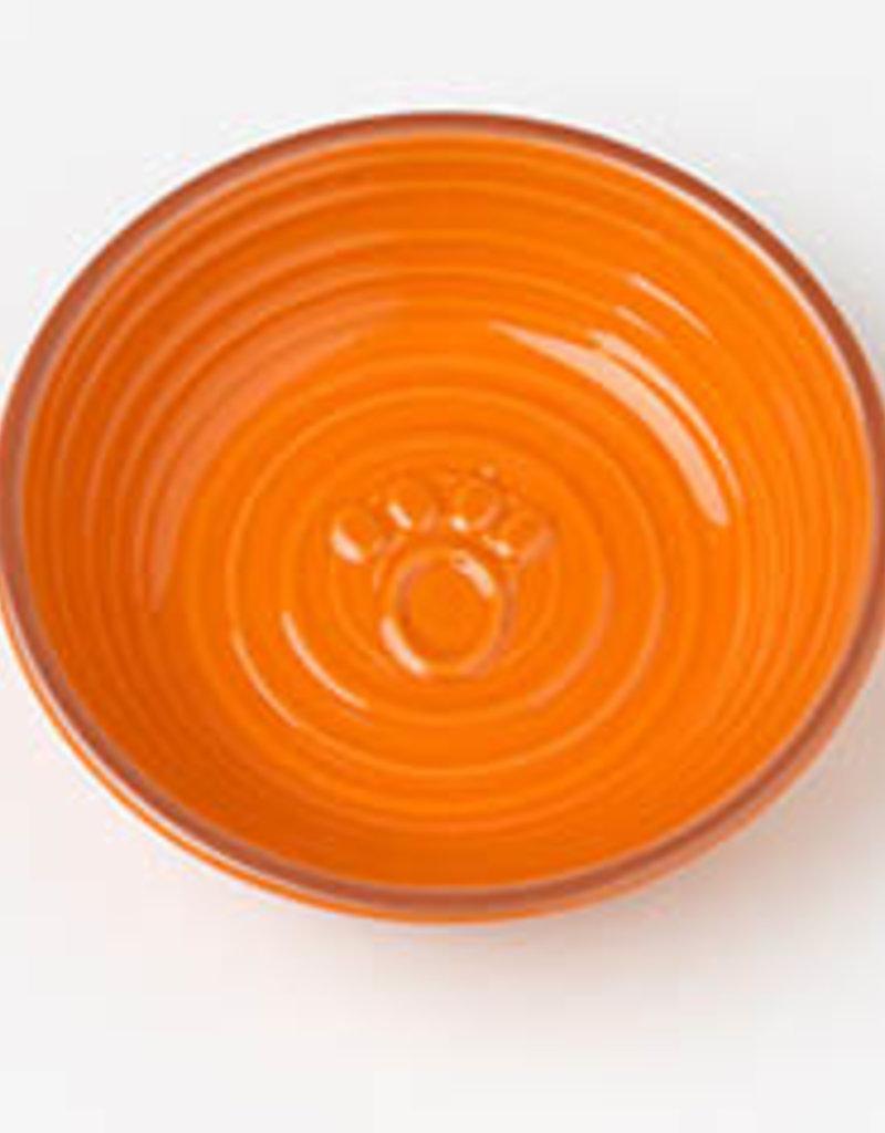 "Pet Rageous Pet Rageous Key West 5"" Embossed Paw Saucer Orange"