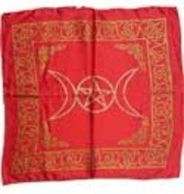 "Altar Cloth 18""x18"" Red Rayon Triple Moon AZ"