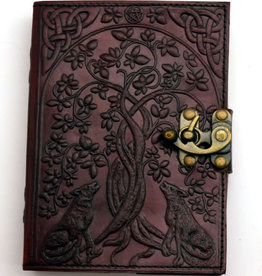 "Journal Leather 5x7"" Latch Wolf & Tree of Life FG"