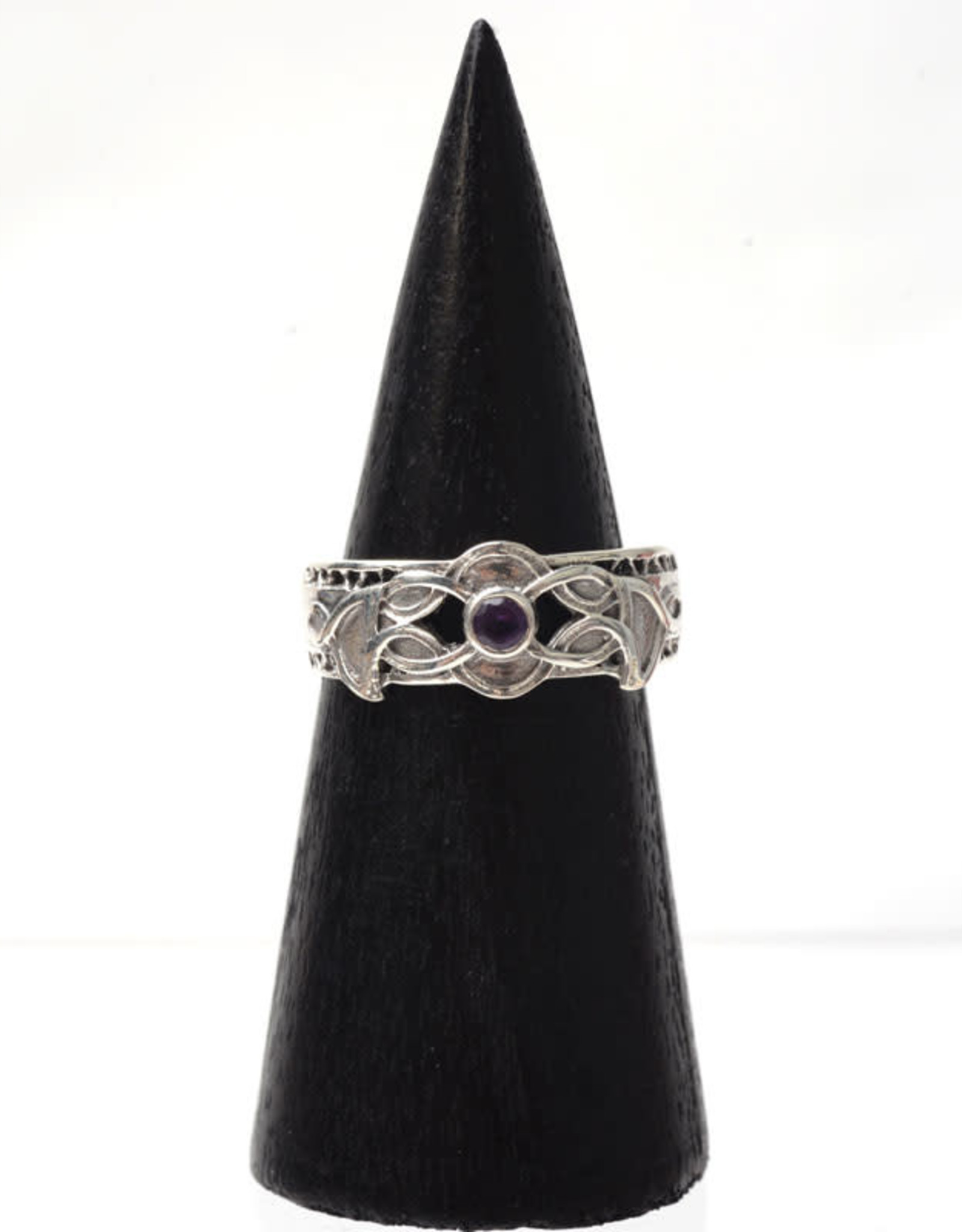 Ring S. Silver Celtic w/ Amethyst BEN Size 8
