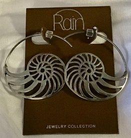 Earrings Silver Nautilus Wire Hoop RAIN