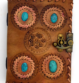 "Journal Leather 5x7"" Latch with 4 Turquoise FG"