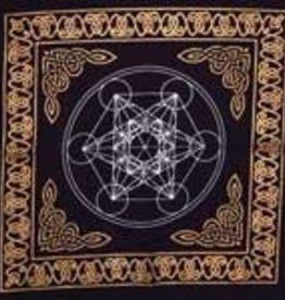 """Altar Cloth Metatron's Cube Gold Border 18""""x18"""" AZ"""