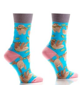Socks-Women's Crew Sloth (Light Blue) GC