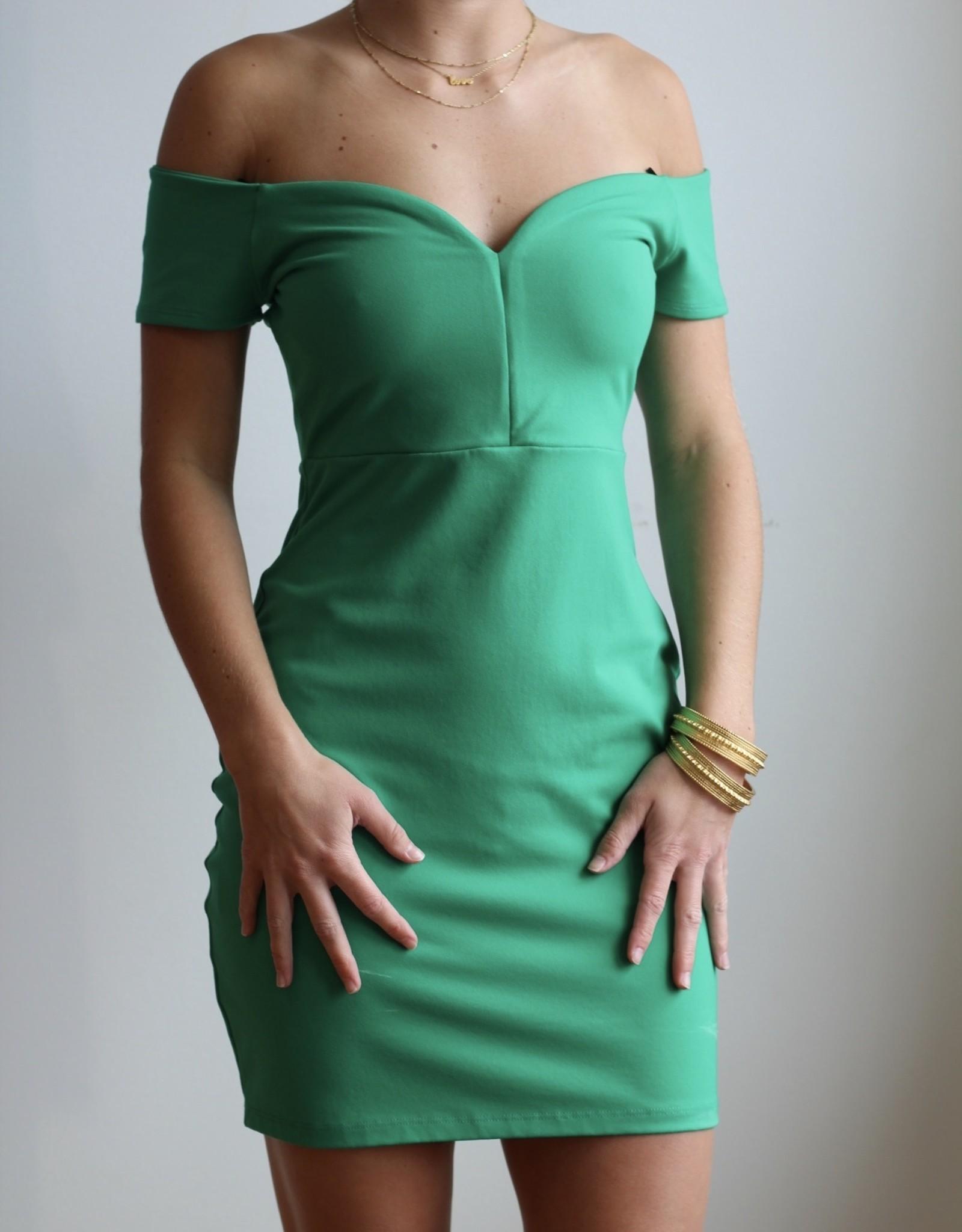 SUSANA MONACO Off Shoulder Emerald Dress