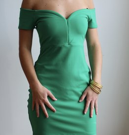 SUSANA MONACO Off Shoulder Emerald Dress