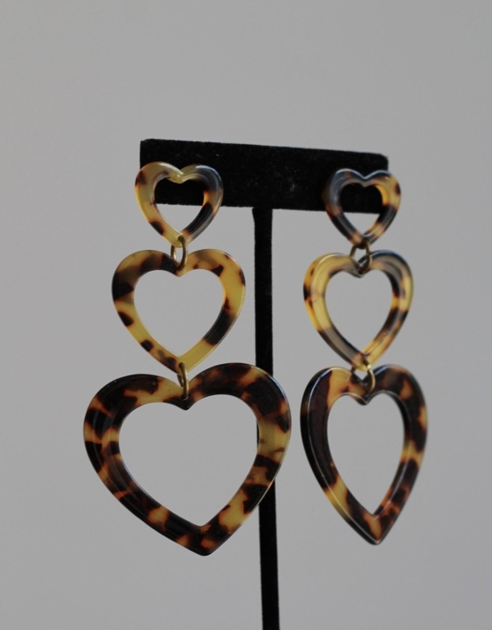 Triple Heart Drop earring