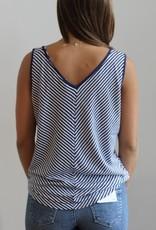 Velvet Heart Navy Stripe Knit Top