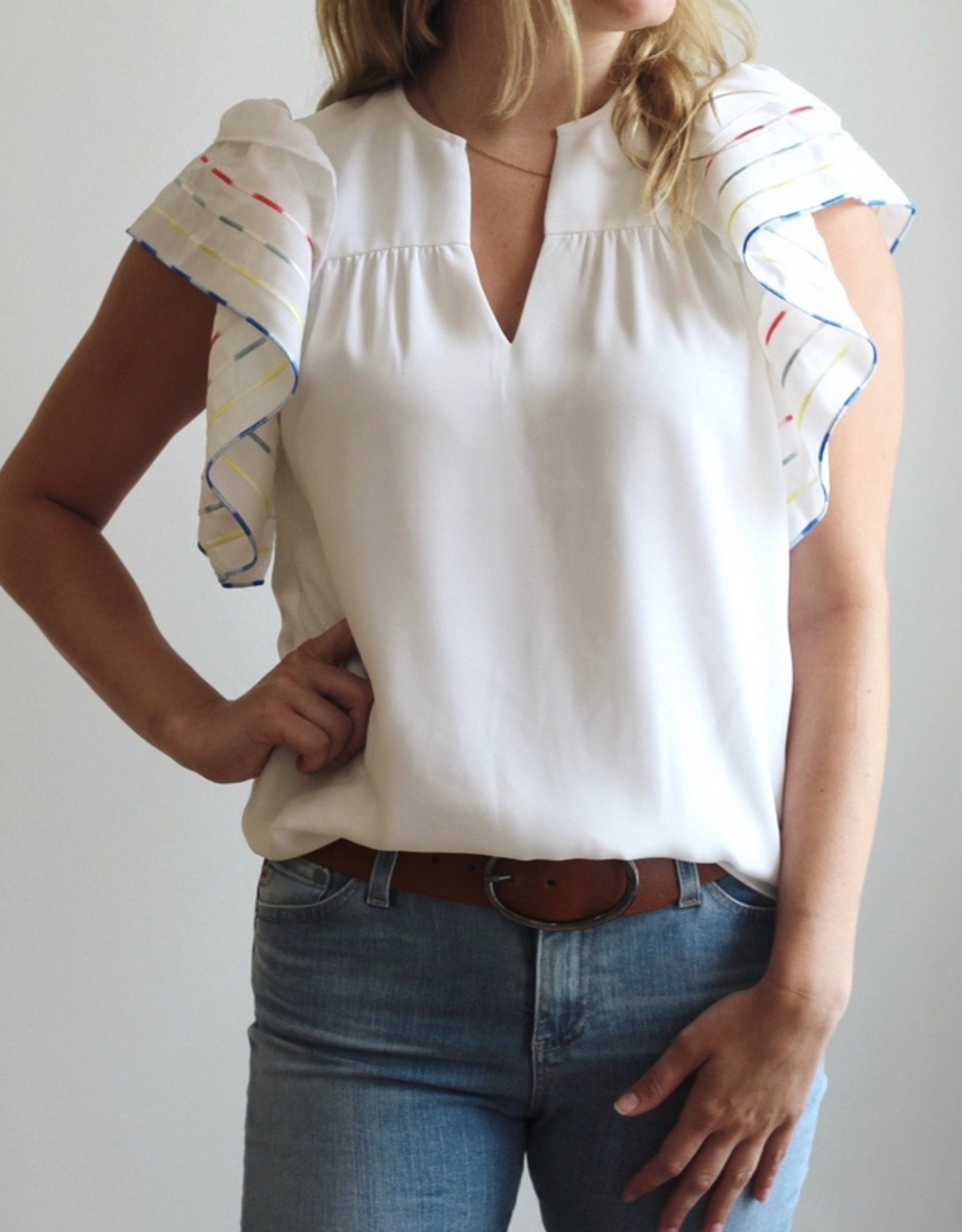 ANNA CATE Becca Top Ombre Embroidered Crepe