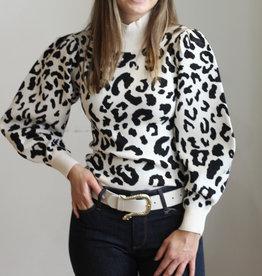 525 America Leopard Mock Neck PUllover