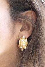 Ben-Amun 62142 Gold Pearl Huggie Hoop Earring