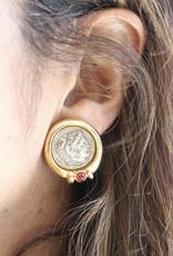 Ben-Amun 77113 Gold Ruby Coin Button Earrings