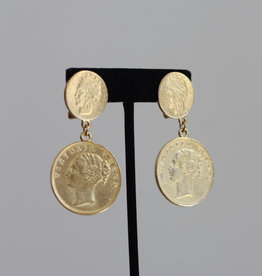 Ben-Amun 50135 Gold Double Coin Earrings