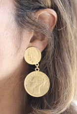Ben-Amun 50135 Gold Double Coin Earrings