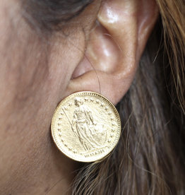 Ben-Amun 50139 Gold Coin Button Earrings