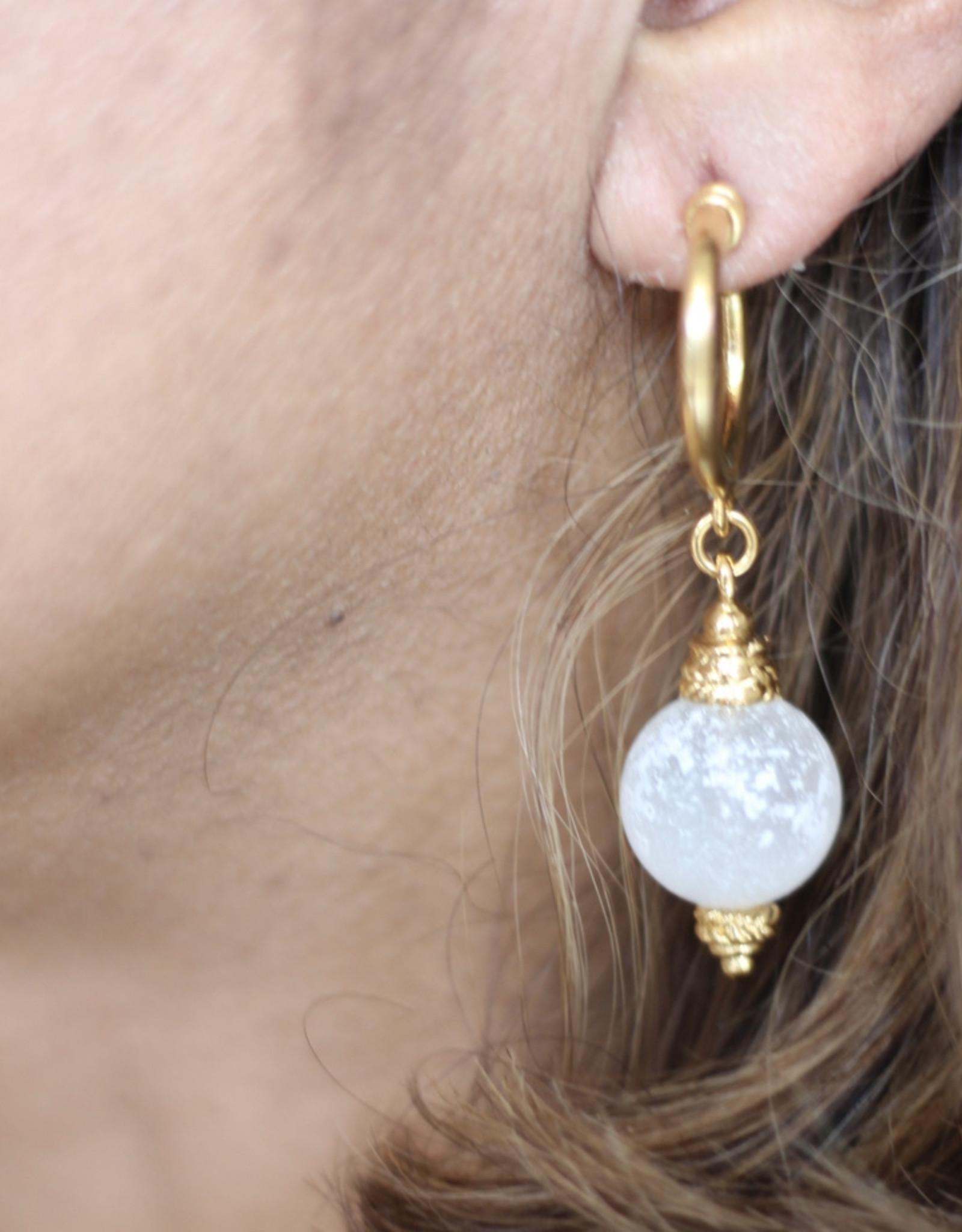 Ben-Amun 49123 Gold Hoop Venetian Glass Drop Earrings