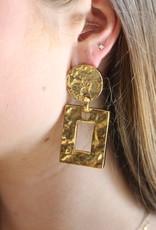 Ben-Amun 23115 Gold Hammered Rectangle Earrings