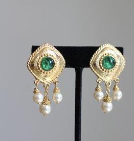 Ben-Amun 18119 Gold Emerald Center Pearl Drop Earrings