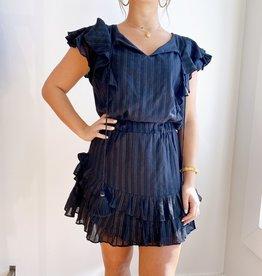 Karina Grimaldi Raffa Metallic MIni Dress - Black