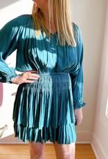 RESET By Jane Satin Long Sleeve Waist Smocking Detail Layered Dress