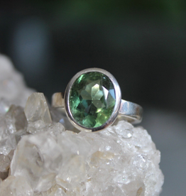 Apatite Green Ring ~ Faceted oval