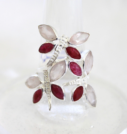 Ruby and Rose Quartz Dragonfly Ring ~ Size 8