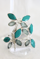 Turquoise and Blue Chalcedony Dragonfly Ring ~ Size 8