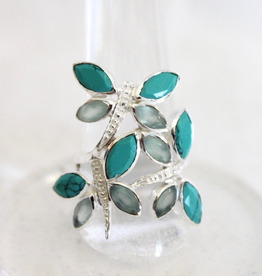Turquoise and Blue Topaz Dragonfly Ring ~ Size 8