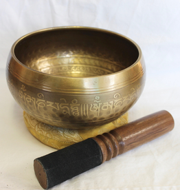 Etched Mantra Singing Bowl includes 1 striker and cushion ~ Nepal Note of G#