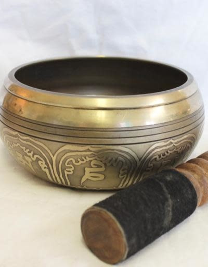 Cassa Carved and Etched Singing Bowl with Tara includes striker ~ Nepal   Note of D#