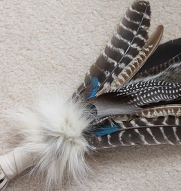 Smudge Feather - Shaman Feather with Buffalo and Bear